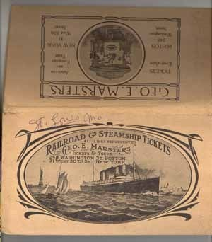 Railroad Steamship ticket folder Marsters Boston NY 1904 ephemera travel