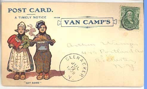 Van Camp's advertising postcard 1905 beans Dutch children