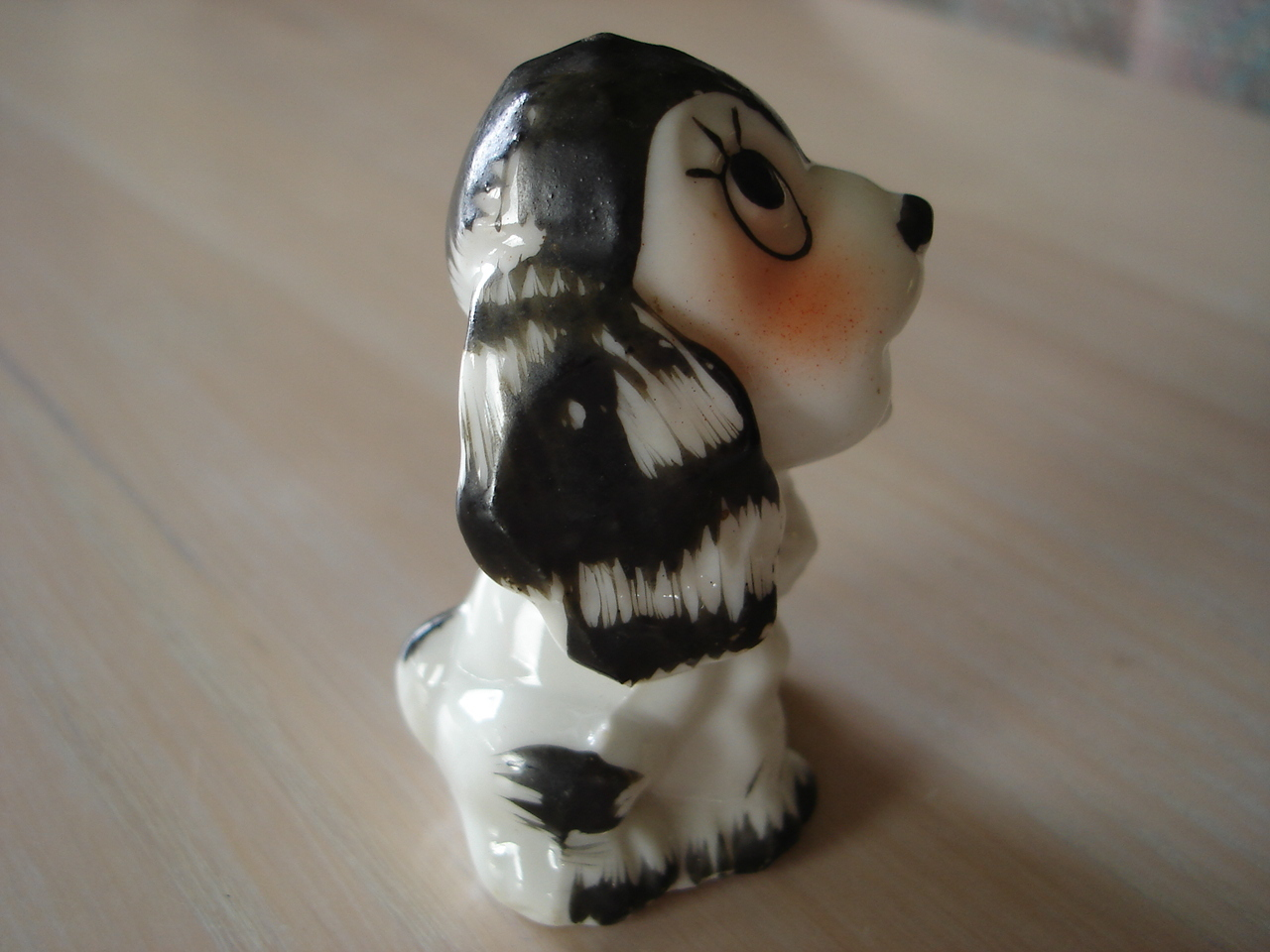 Vintage Porcelain White/blk Puppy Figurine, Occupied Japan