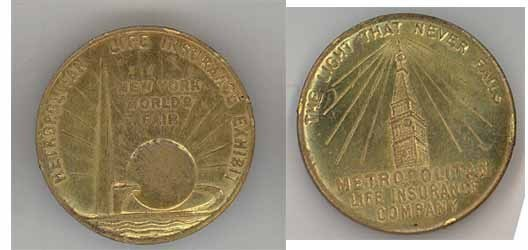 1939 NY World's Fair token Met Life Ins Co original brass coin vintage