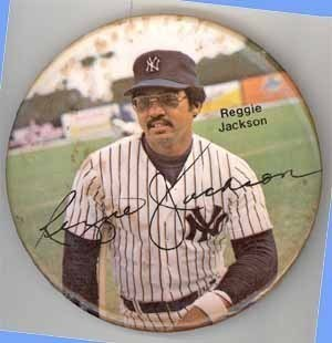 Reggie Jackson NY vintage baseball pinback sporting collectible pin
