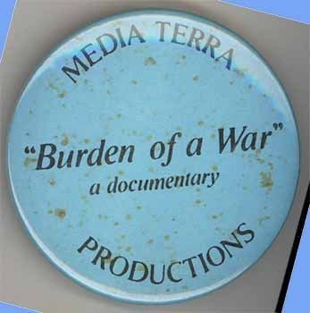 Burden of War movie Media Terra advertising pinback 1990 vintage