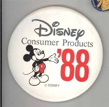Disney advertising pinback 1988 Mickey Mouse cute