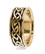 18K MENS SOLID YELLOW GOLD CELTIC KNOT BLACK ENAMEL WEDDING BANDS RINGS ... - $877.89