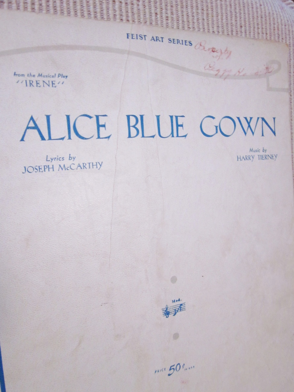 Vintage Sheet Music Alice Blue Gown 1919 Linen Cover lot 1