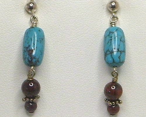Turquoise & Poppy Jasper Gemstone Sterling Silver Necklace and Earring Set
