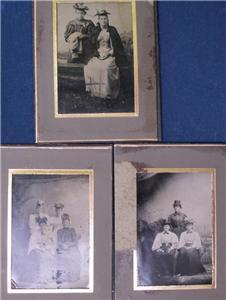 ANTIQUE 3 TINTYPES VICTORIAN WOMEN WITH FABULOUS HATS