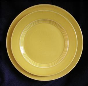 VINTAGE EARLY 1930'S HLC YELLOW RINGWARE SET 4 PLATES