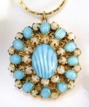 Vintage Art Glass LOCKET West Germany Jeweled Filigree - $75.00
