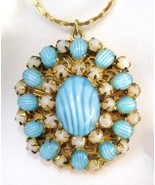 Vintage Art Glass LOCKET West Germany Jeweled Filigree - $75.00