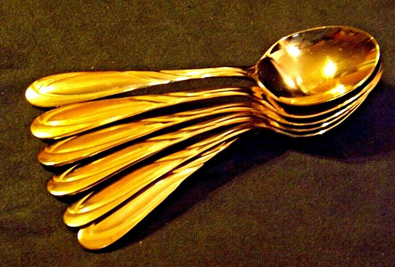 Regal Gold Electroplate 6 Teaspoons Flatware by Farberware AA19-1656 Vintage