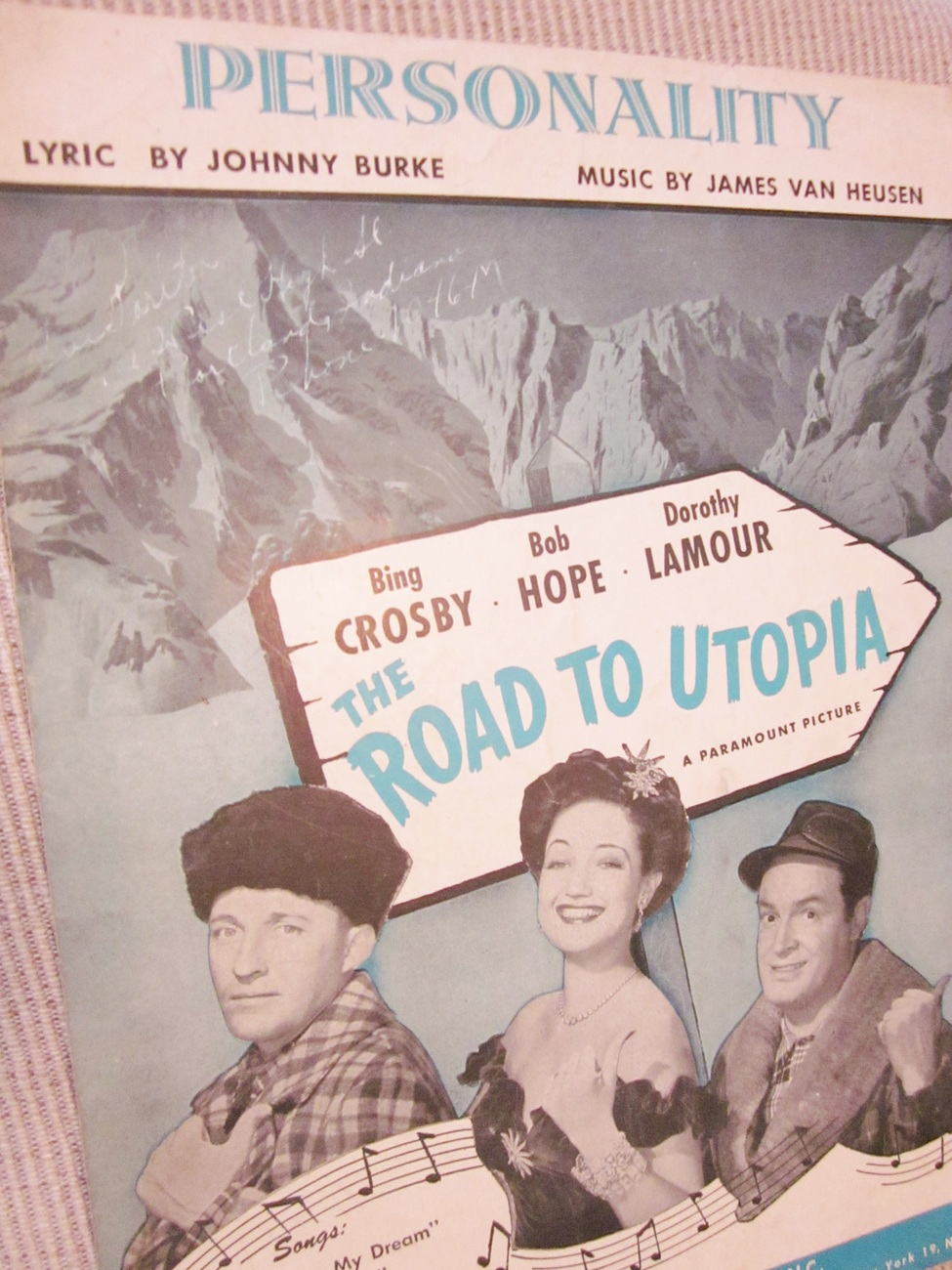 Sheet Music Personality from Road to Utopia with Crosby, Hope, Lamour 1945
