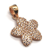 18K ROSE, PINK GOLD FLOWER STAR CHARM PENDANT WITH ZIRCONIA, MADE IN ITALY image 2