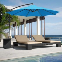 Patio Hanging Offset Umbrella 10' Deluxe Outdoor Garden Cantilever w/ Cr... - $131.11 CAD