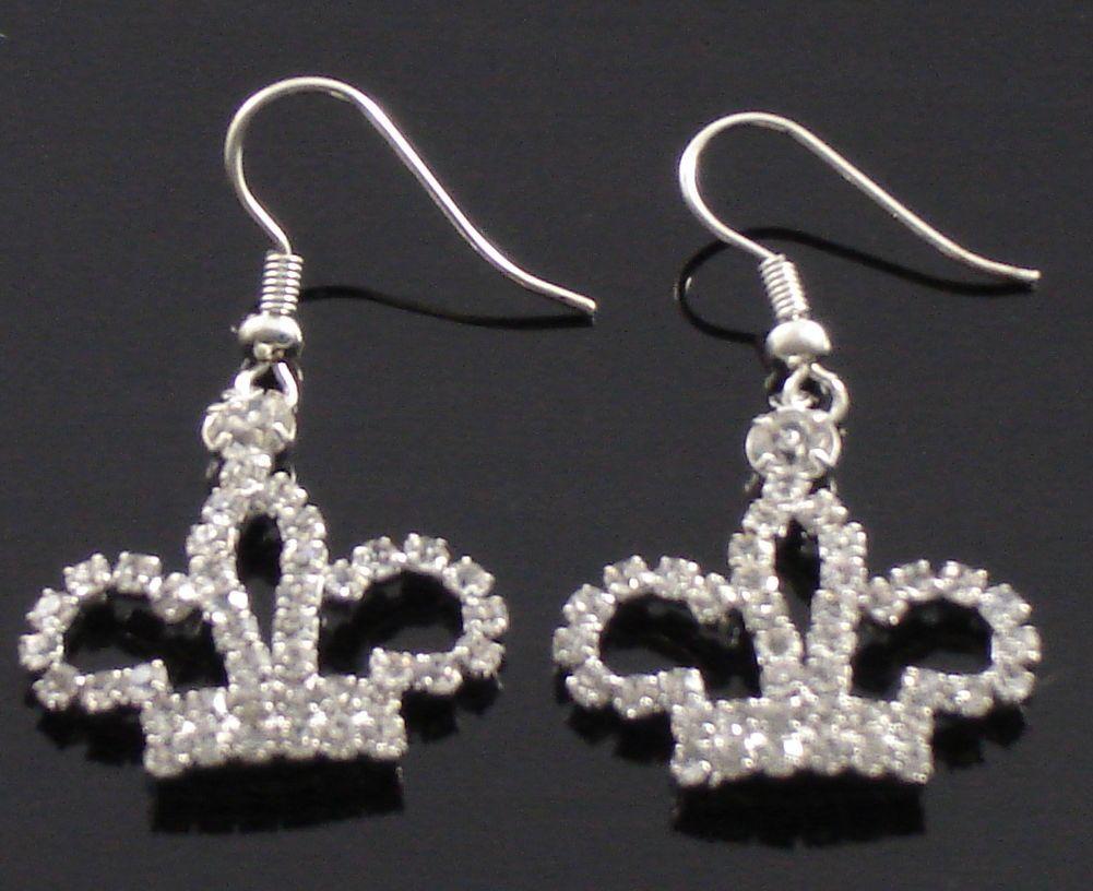 Dangle  Austrian Crystal Crown Shape Drop Earrings