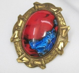 Vintage Edwardian Art Glass Brooch Red and Blue-C Clasp