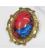 Vintage Edwardian Art Glass Brooch Red and Blue-C Clasp - $52.99