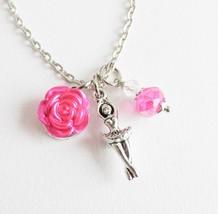 Hot ballet charm necklace, girls ballerina jewelry - $7.65