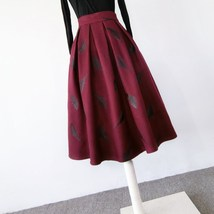 Black Winter Wool A Line Pleated Skirt High Waist Midi Skirt with Wing Patterns image 11