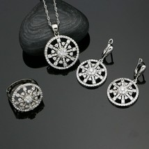 Trendy 925 Silver Jewelry Sets White Crystal For Women Party Earrings With - $17.84
