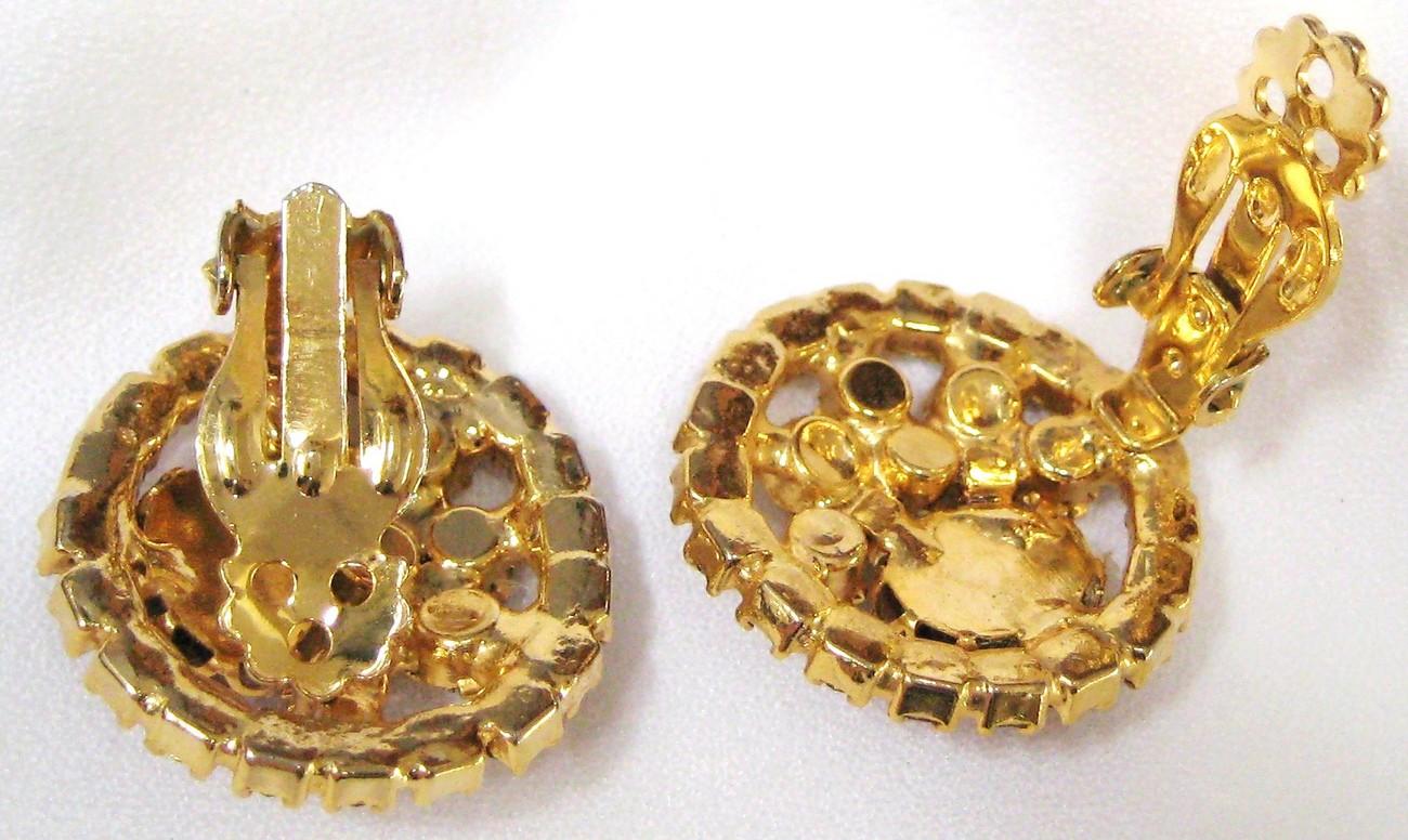 Vintage Art Glass Brooch Earring Pin Parure