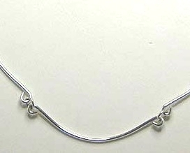 Argentium Sterling Silver Curved Bar Necklace Hand Forged