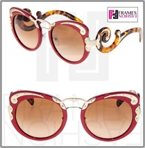 Prada Minimal Baroque Swirl PR07TS Red Brown Havana Gold Sunglasses 07T Wanderer - $284.13