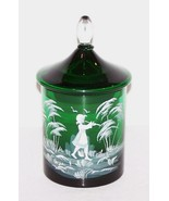 """STUNNING VINTAGE MARY GREGORY GLASS GREEN HAND PAINTED 6"""" JAR WITH LID - $63.10"""