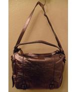 NWT BCBG MAXAZRIA Gunmetal Metallic Leather Shoulder Bag NEW (MAKE AN OF... - $307.59