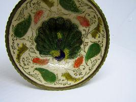 Vintage Brass Ornate Peacock Enameled Bowl on Pedestal image 3