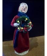 Byer's Choice Caroler, Mrs. Claus-Wreath, Burgundy Velvet, Old World, New - $62.00