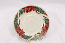 Gibson Poinsettia Holly Ribbons Stoneware Saucers Set of 8 - $27.93