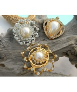 Scarf Clips Rhinestones Faux Pearls Vintage Lot of 3 Ornate - $39.95