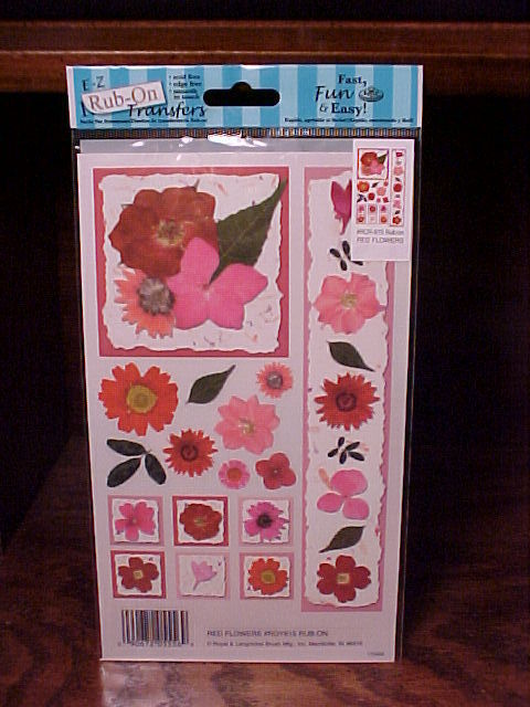 3 Packages of Red Flower E-Z Rub-On Transfers for scrapbooks