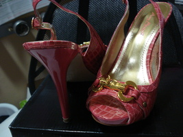 NEW Gorgeous Coral Pink adjustable buckle Stiletto Pump Heels Gold hardware image 2