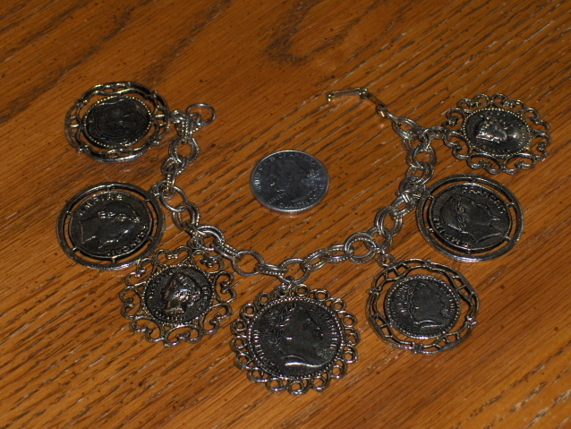 Vintage British Coin Cameo Charm Bracelet