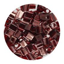 Square Glass Beads Japan 4mm Miyuki Cube Gold Luster Transparent Dark Red - $6.94
