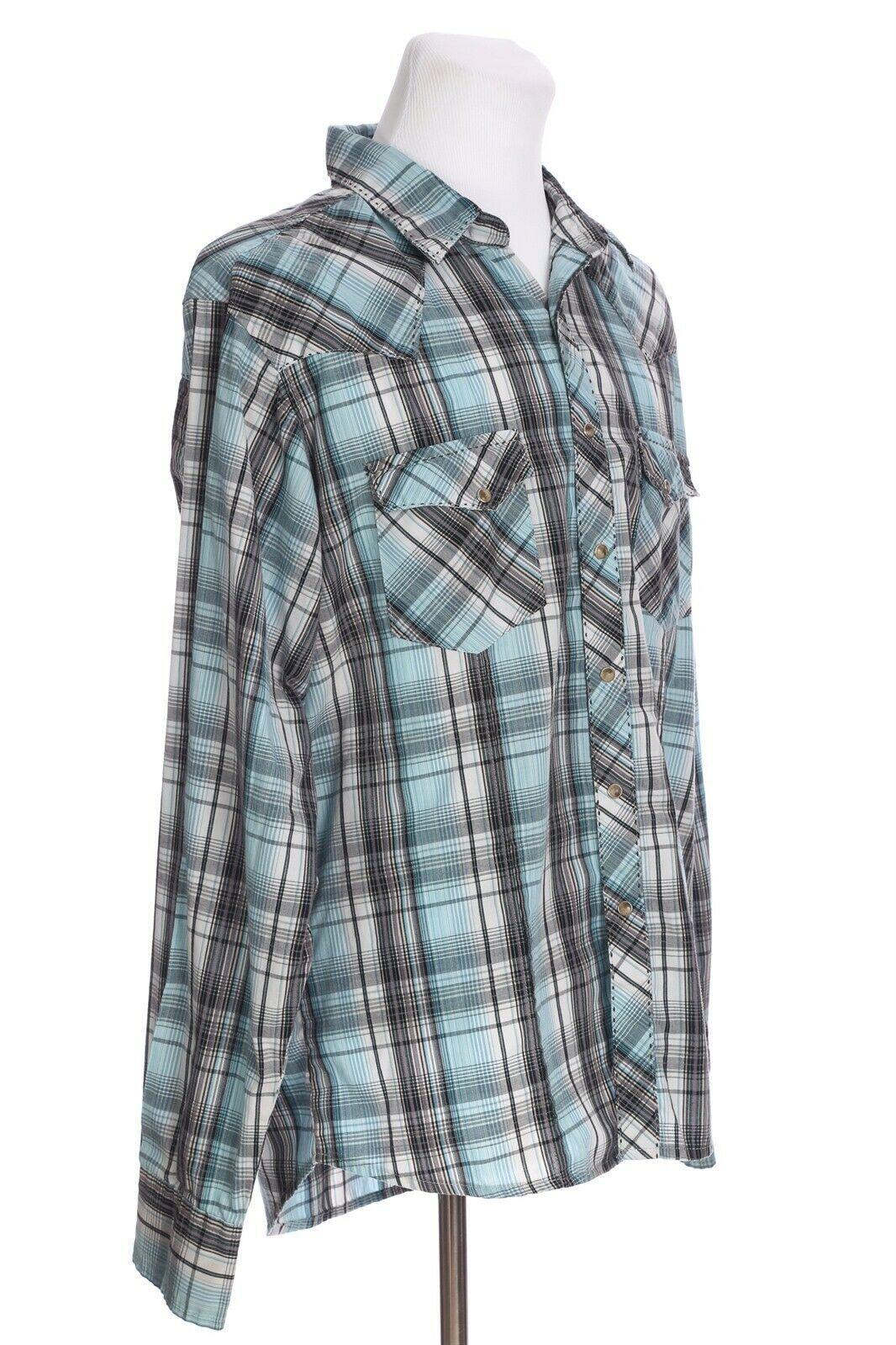 VTG Wrangler Plaid Cat Eye Pearl Snap Western Shirt Large Slim Fit Blue Black