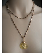 Sea glass Yellow Necklace and Earring Set Hand Crafted  - $30.00