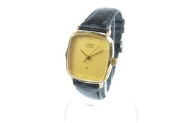 Auth RADO 110.5155.2 Black Dial Black Leather Band Quartz Ladies Watch RW3344L - $129.00