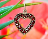 Vintage bohemian czech red garnet heart miniature pendant charm love thumb155 crop