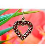 Vintage Bohemian Czech Red Garnet Heart Miniature Pendant Charm Love - $49.95