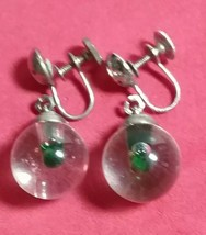 VINTAGE CORO SIGNED LUCITE JELLY BELLY MUSTARD SEED SILVER TONE EARRINGS - $40.00