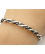 925 Sterling Silver - Vintage Three Strand Twisted Rope Cuff Bracelet - ... - $57.38