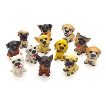 Deluxe Assorted Miniature Resin Dog Toy Figures Cake Topper Doggies Playset Punn