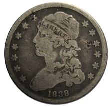 1838 Capped Bust Quarter Dollar 25¢ Coin Lot# EA 319