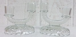 2 Imperial Glass Newbound Rope Swirl Double Candle Holders Clear Mint Fr... - $19.99