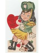 Vintage Valentine Card Majorette Girl and Beagle Mechanical 1953 - $12.86