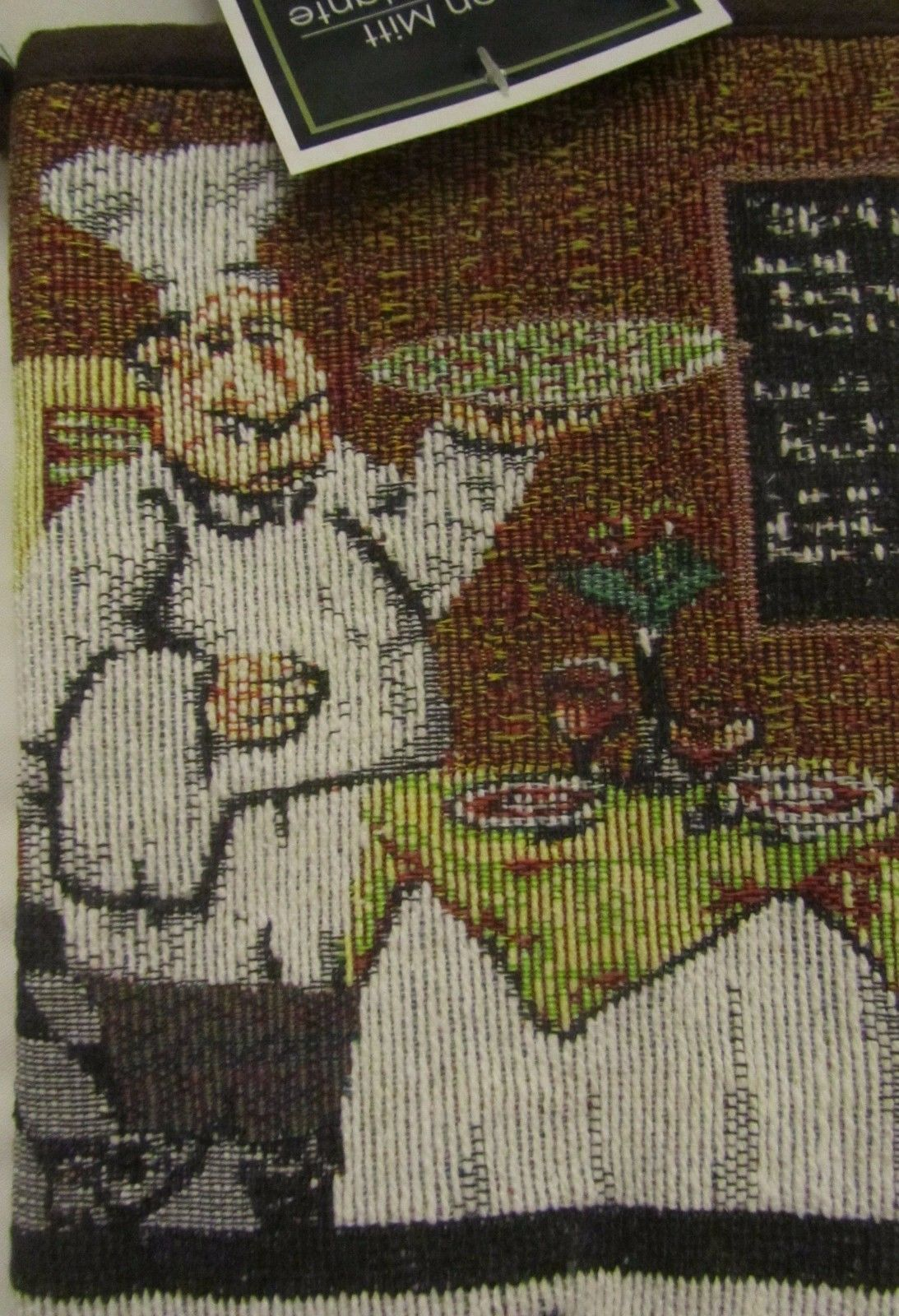 "Fabric Tapestry Kitchen Oven Mitt, 11"" , FAT CHEF WITH PLATE"