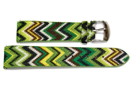 20mm Green ZigZag Tribal Print Watch Band Strap - $9.89